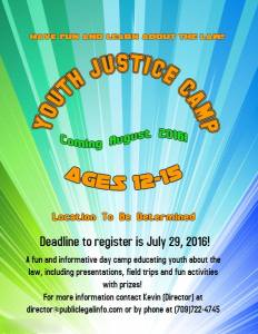 Justice Youth Camp Poster